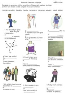 Advanced-classroom-language and vocabulary exercise