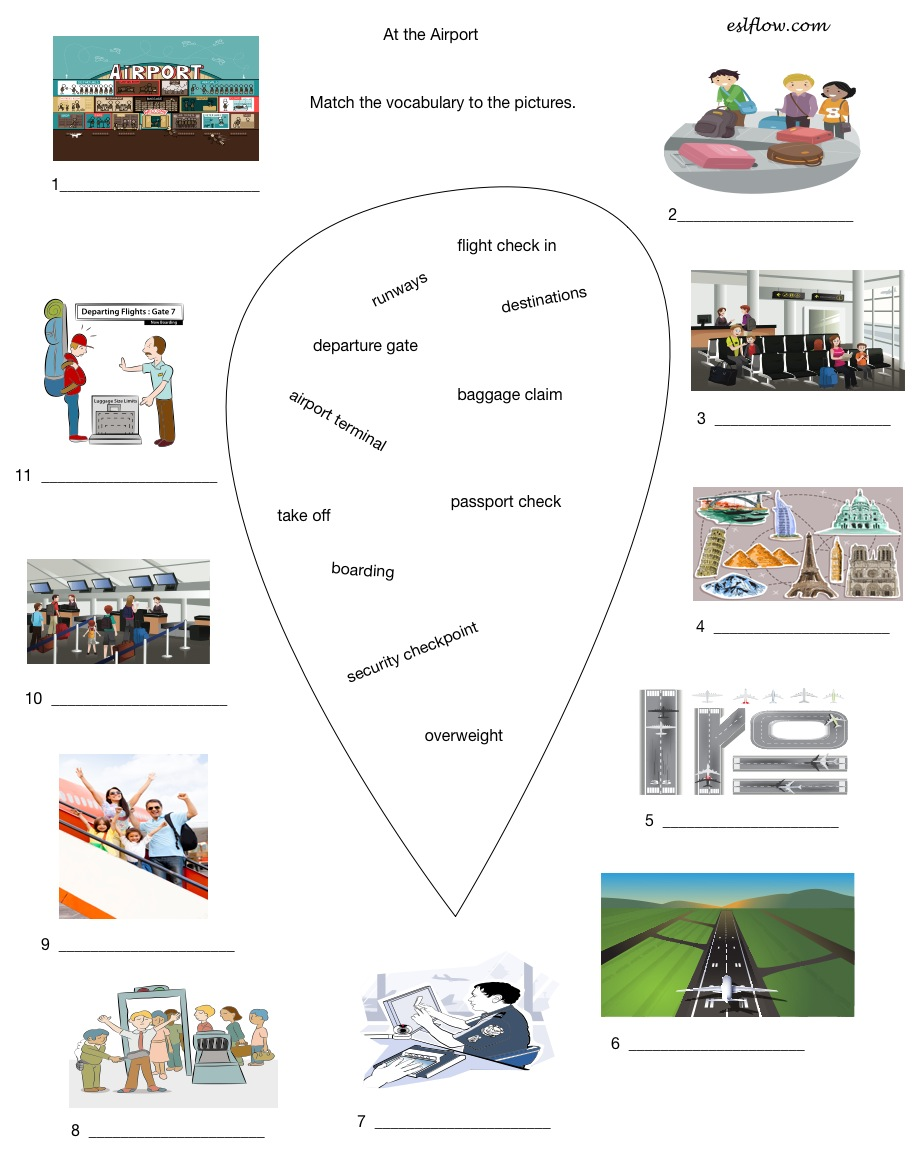 Airport tourism vocabulary worksheet Eslflow