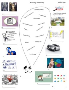 Branding vocabulary language worksheet
