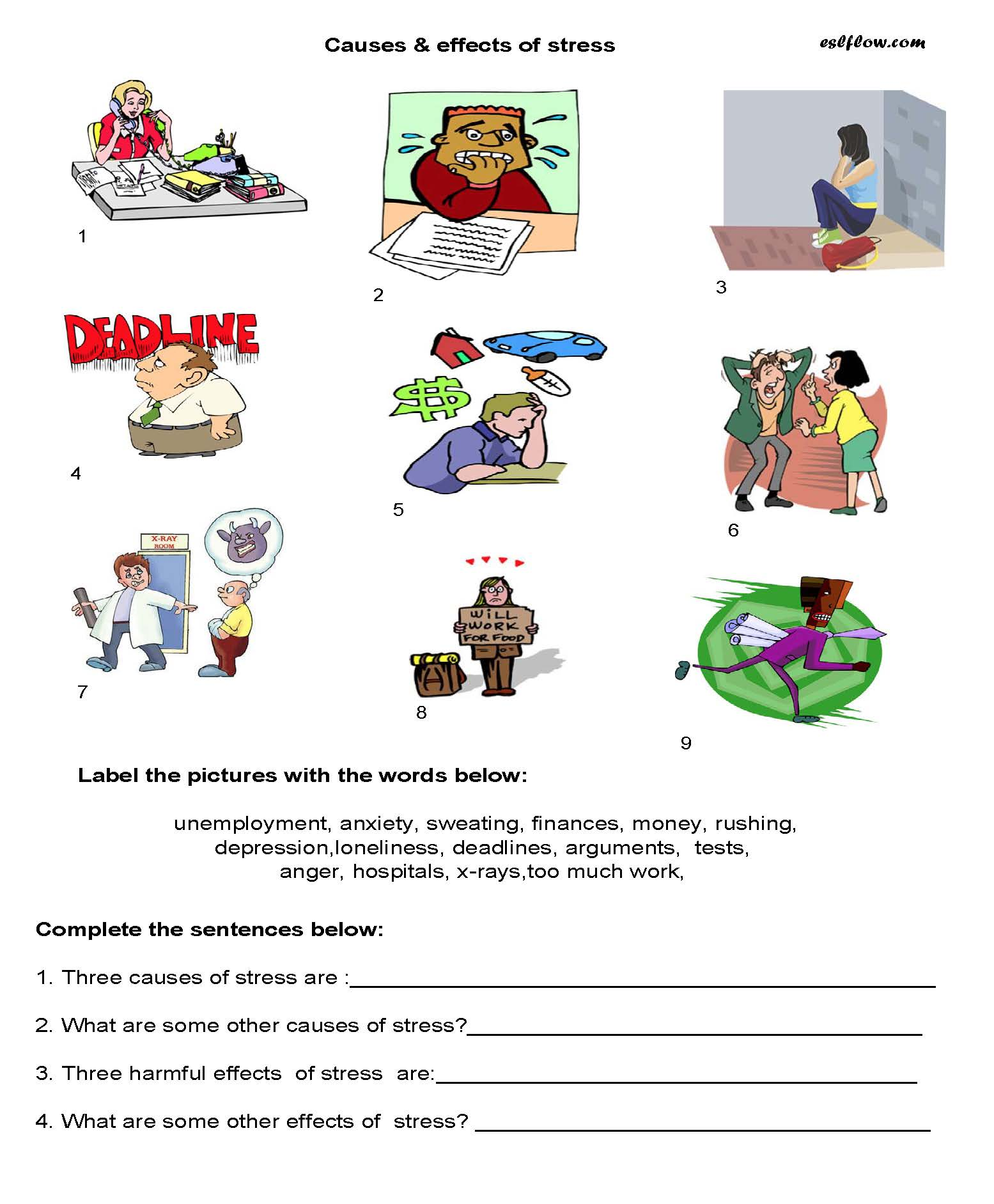 Elementary causes/effects of stress worksheet for ESL students.