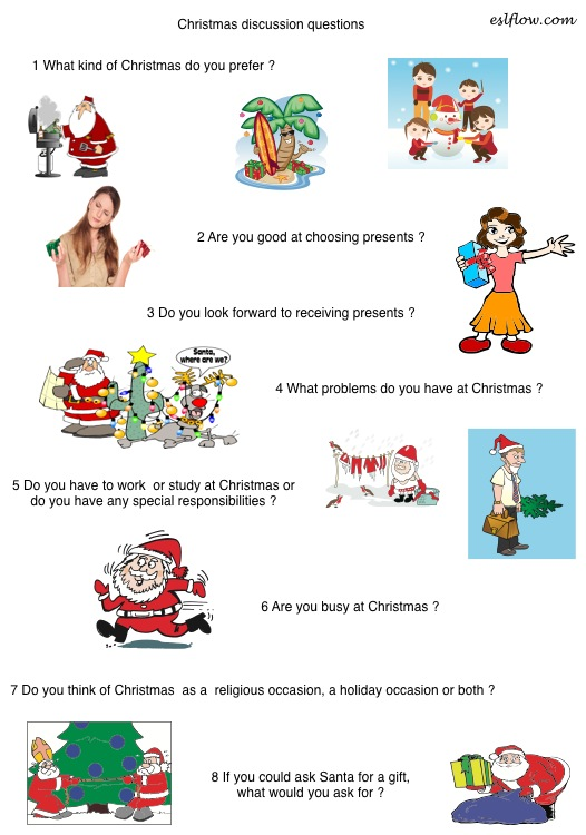 Christmas Questions To Ask.Christmas Speaking Activity Eslflow