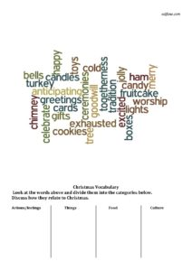 Christmas word sorting exercise