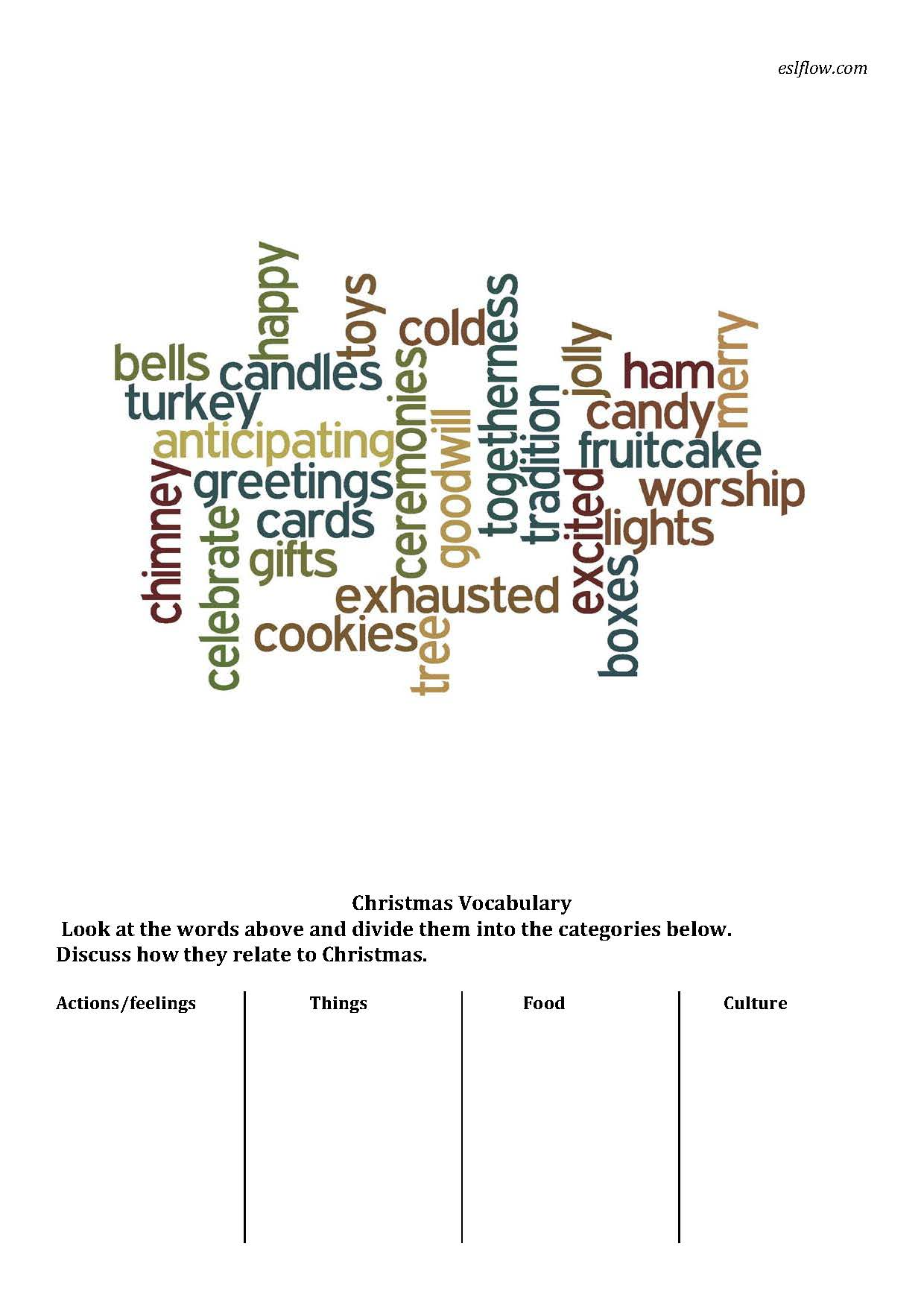 click here for the christmas vocabulary pdf file