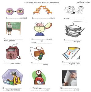 classroom-rules-language and vocabulary worksheet