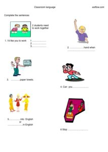 Classroom-language and vocabulary worksheet