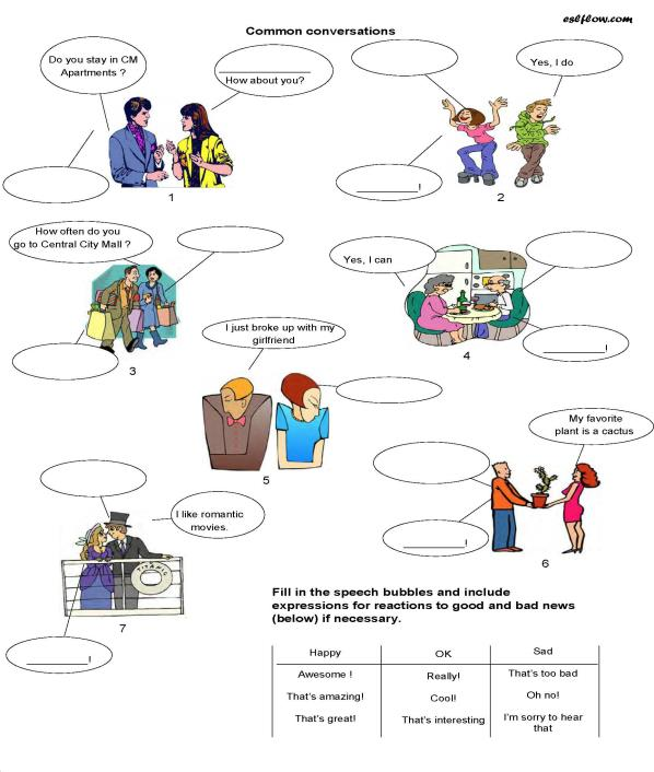 A Socializing Common Conversations Worksheet For Esl Classes