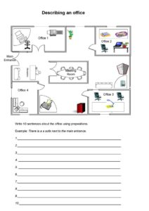 Describing an office with prepositions