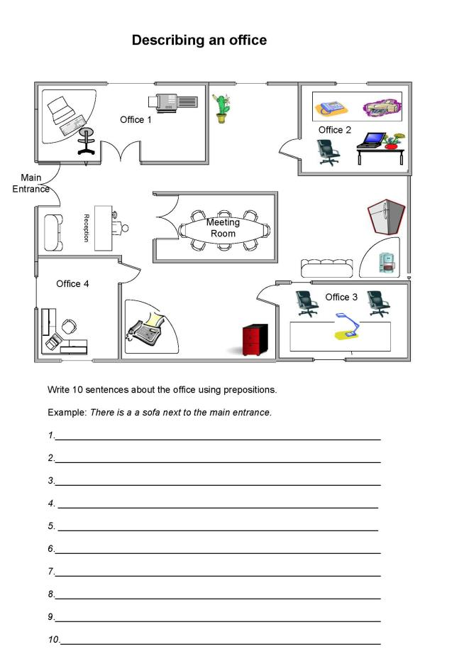 Printable Worksheets worksheets on prepositions for grade 1 : Describing an-office-with-prepositions-worksheet for students.