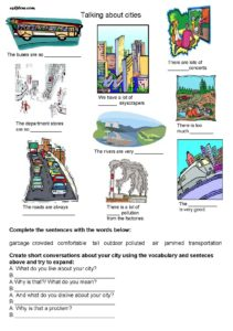 Describing or talking about cities vocabulary and speaking exercise