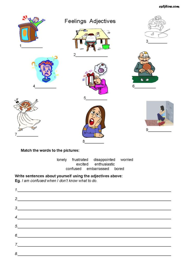 Feelings and emotions worksheets esl