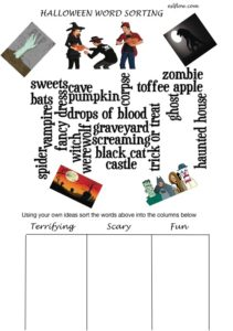 Halloween vocabulary sorting