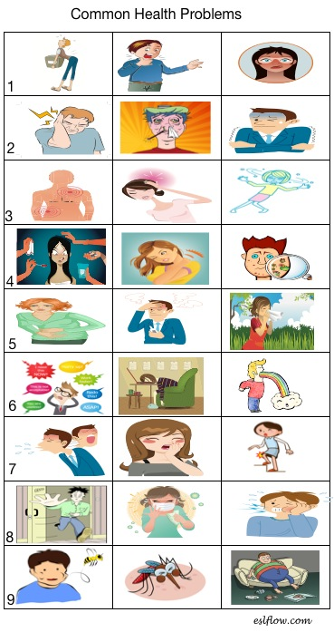 Common Health Problems Vocabulary Worksheet Eslflow