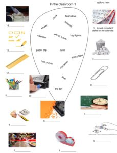 Classroom objects vocabulary exercises.