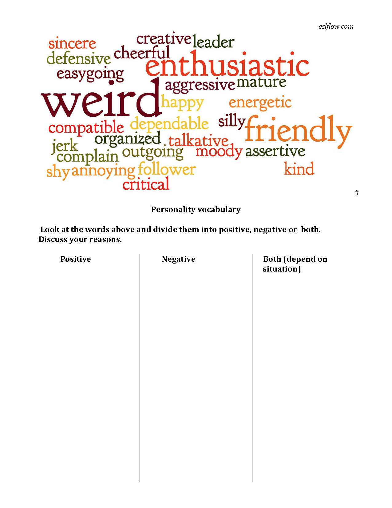 Personality Adjective Vocabulary Worksheet For English Language