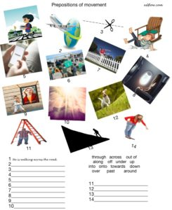 Prepositions of movement grammar activity