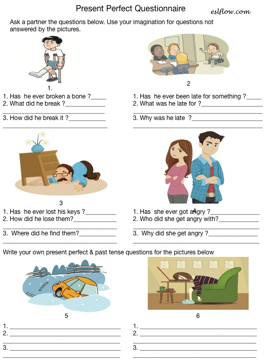 Present perfect questions exercise for grammar students