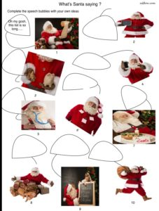 Speaking skills and language exercise for Santa Claus