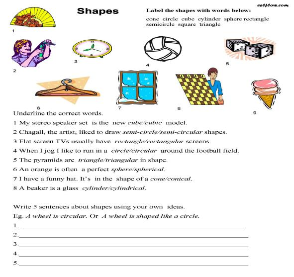 shapes vocabulary worksheet eslflow. Black Bedroom Furniture Sets. Home Design Ideas