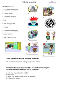 Shopping speaking activity for ESL students