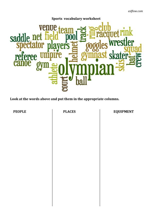 sports vocabulary sorting for elementary language students. Black Bedroom Furniture Sets. Home Design Ideas
