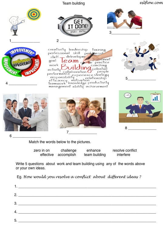 team building vocabulary speaking lesson for business english. Black Bedroom Furniture Sets. Home Design Ideas
