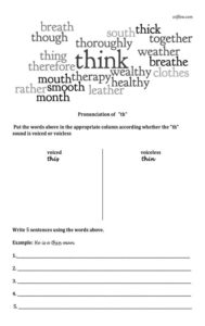 Th--sound-pronunciation sorting worksheet