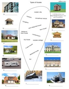 Types-of-houses picture vocabulary matching exercise