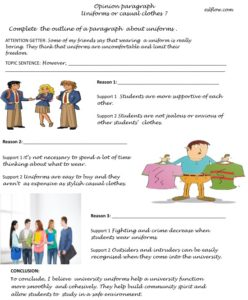 Uniforms paragraph writing exercise