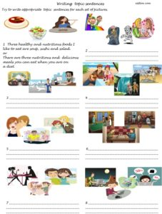 Writing topic sentences for paragraphs in sets of threeideas