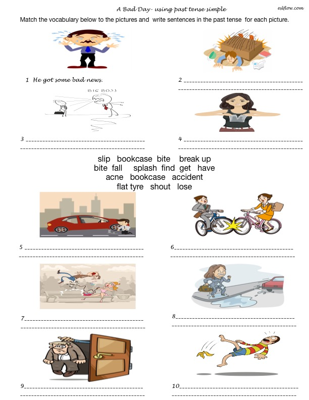Bad Day Story Telling Exercise Using The Past Simple Tense