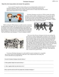 A reading comprehension exercise for English language learners about the journalist and reporter Christiane Amanpour.