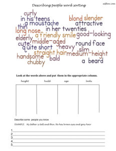 Describing appearance vocabulary sorting