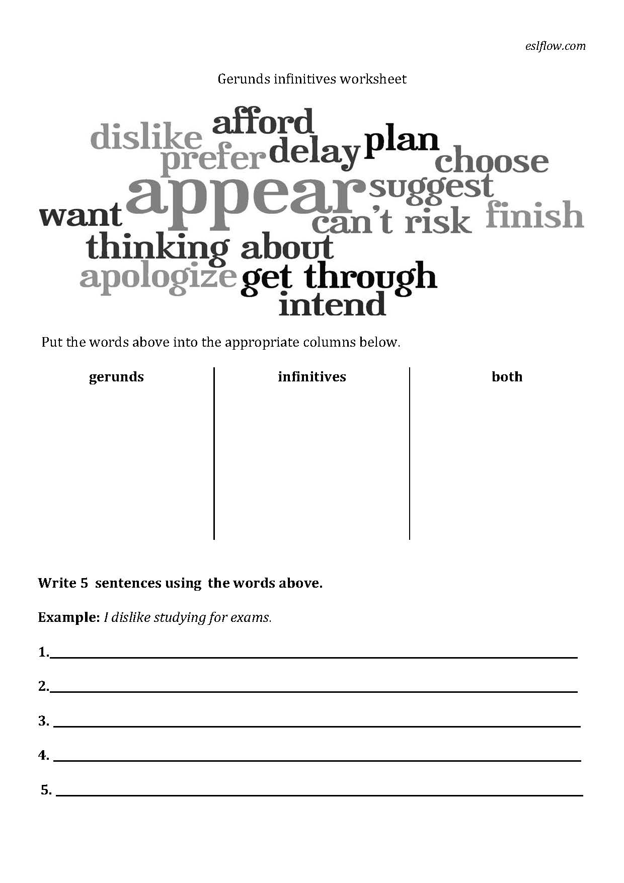 Worksheets Gerunds Worksheet infinitive for kids worksheets gerunds and infinitives exercise answer key