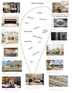 Parts of houses vocabulary picture matching exercise