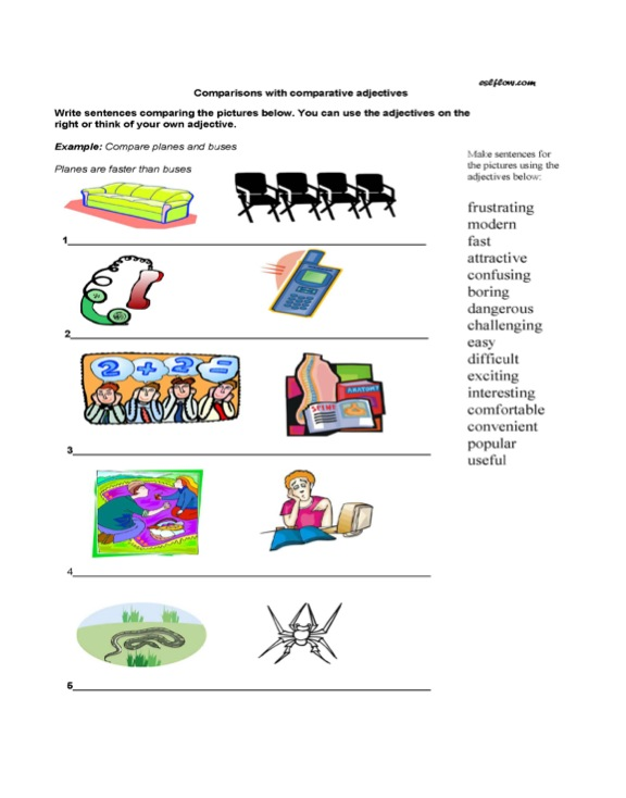Using comparative adjectives in sentences worksheet.
