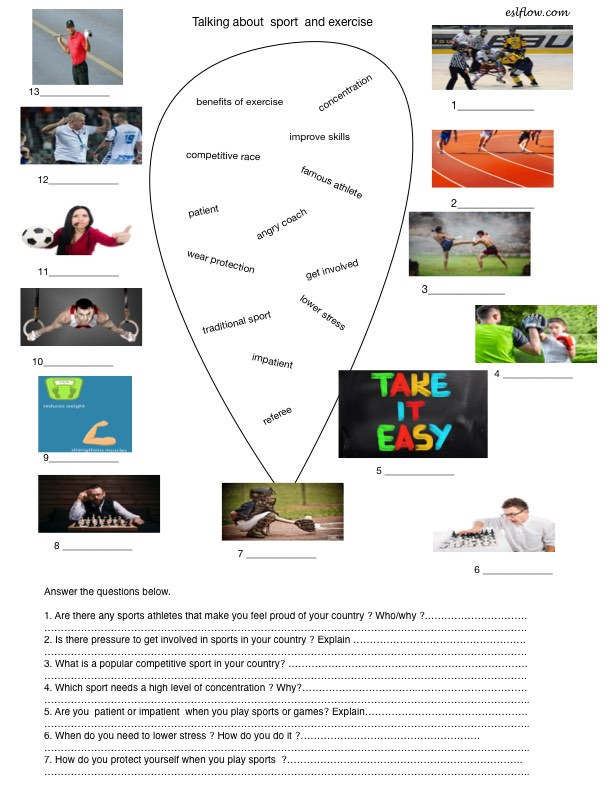 Sport vocabulary matching and speaking activity