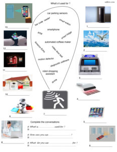 New technologies and devices vocabulary matching and speaking exercise