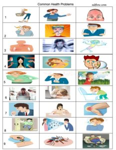 Common health problems and symptoms vocabulary exdercise