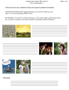 City vs countryside essay writing exercise
