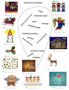 Christmas vocabulary and picture matching exercise
