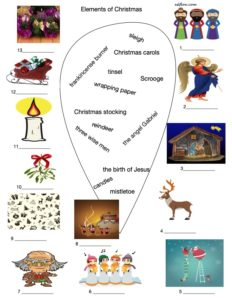 Christmas vocabulary exercise with pictures