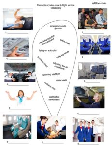 Cabin crew and flight service vocabulary exercise