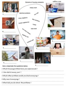 Vocabulary and and speaking exercise for talking about housing complaints