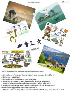 Loch Ness story telling questionnaire for students.