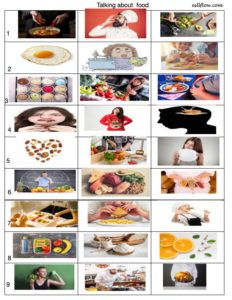 Language and vocabulary worksheet and lesson for talking about food.