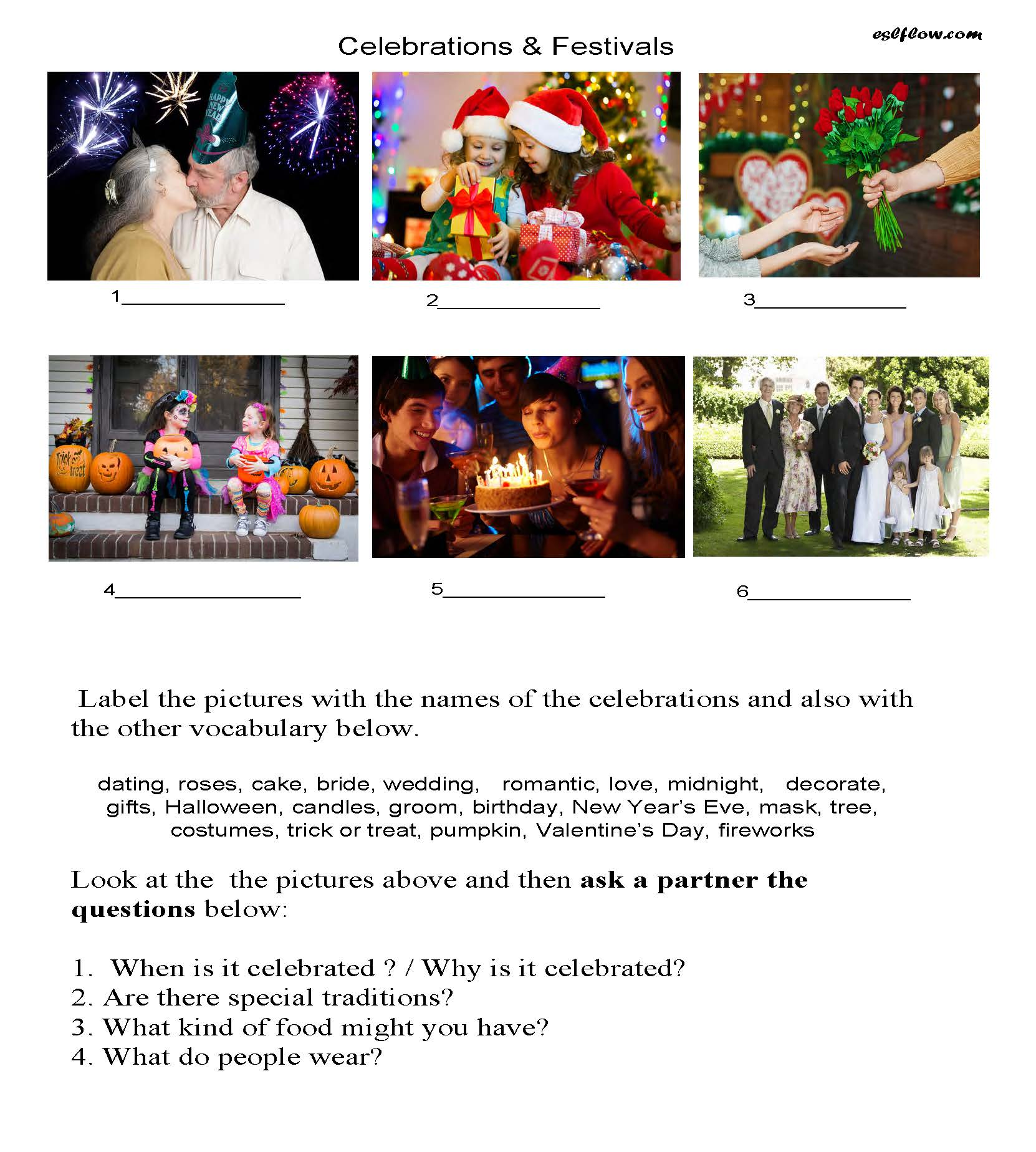 Celebrations and festivals vocabulary and speaking lesson.
