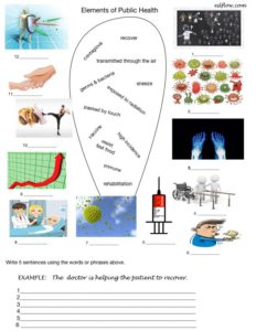 Public health and safety vocabulary and literacy exercises.