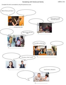 Short dialogues and speech bubbles for socializing with friends and family speaking skills exercise.