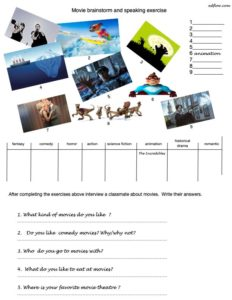 Movie brainstorm & speaking activity for ESL classes