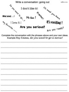 "Elementary ""going out"" conversation or dialogue writing exercise for English language students."